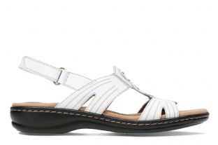 Clarks Womens Leisa Vine White Leather Wedge Sandals